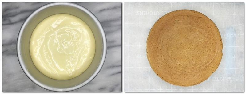 Photo 7: Cake batter in a pan Photo 8: Baked biscuit on parchment paper