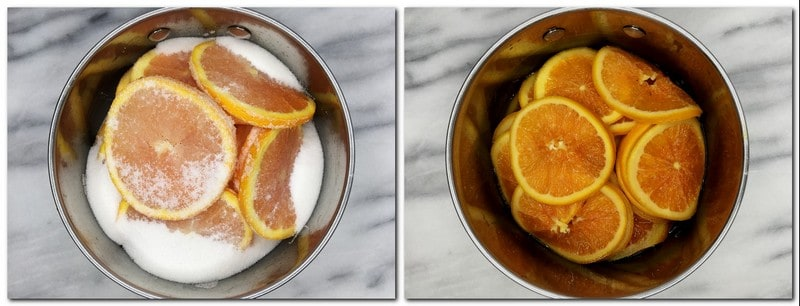Photo 1: Orange slices with sugar in a saucepan Photo 2: Candied oranges in a pan
