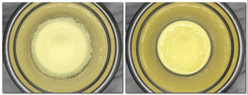 Photo 9: Egg yolks/sugar/flour mixture in a bowl Photo 10: Pastry cream in a bowl