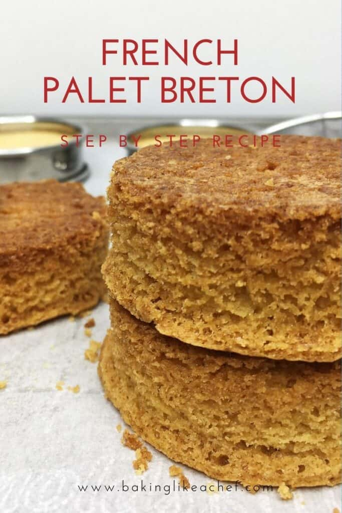 Two stacked palet Breton and the other two with a pastry ring on background: Pin with text