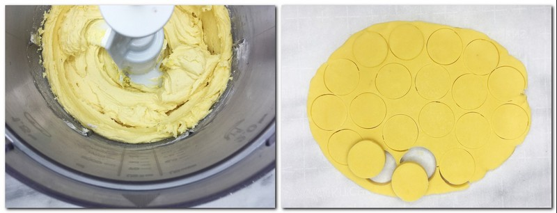 Photo 3: Ready dough in the bowl of a stand mixer Photo 4: Rolled dough cut with a cookie cutter into small disks