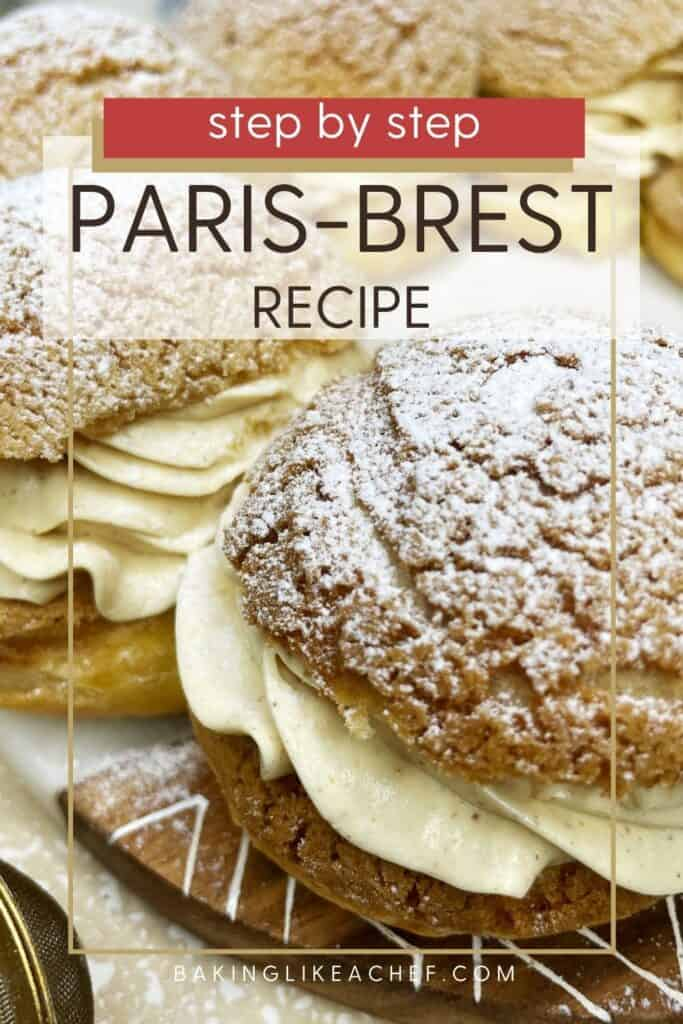 Crown of choux buns making Paris-Brest dessert on a marble board: Pin with text