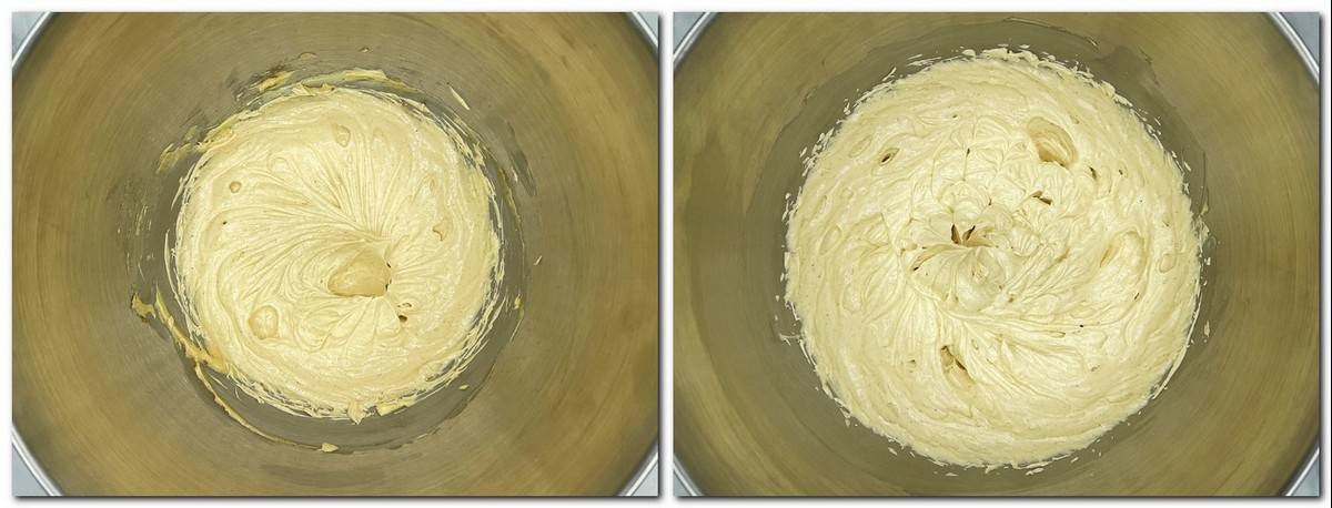Photo 11: Butter/praline mixture in a bowl Photo 12: Mousseline cream in a bowl