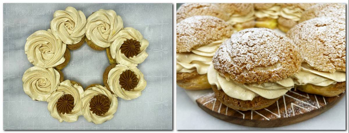 Photo 15: Cream, praline insert over choux buns Photo 16: Assembled dessert on a marble board