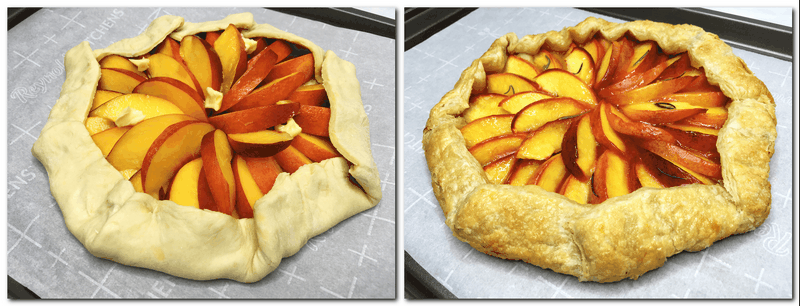 Photo 3: Folded puff pastry with sliced peaches and butter cubes in the center of the pastry  Photo 4: Baked dessert on a baking sheet lined with parchment paper