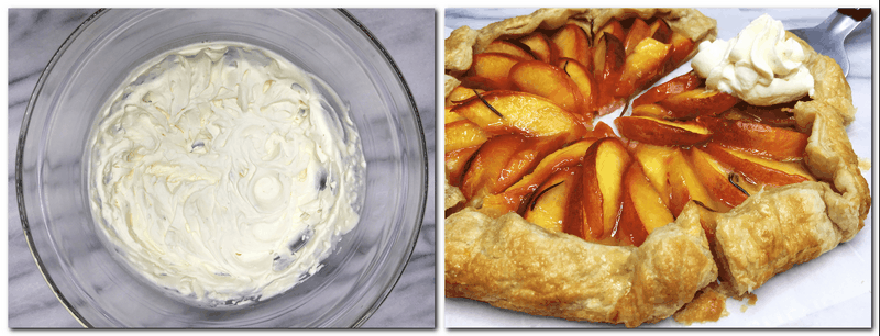 Photo 5: Lime whipped cream in a glass bowl Photo 6: Ready galette cut into pieces with the one with whipped cream on top