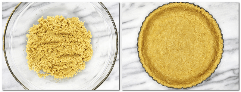 Photo 1: Cookie/butter crumbs in a glass bowl Photo 2: Crumbs pressed into a fluted tart pan