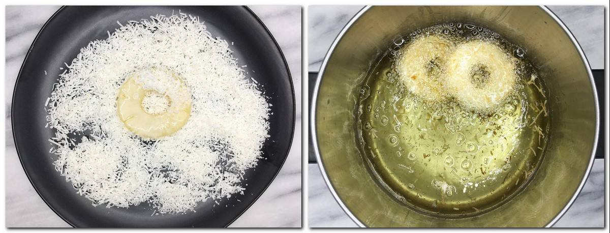 Photo 3: Fruit ring on top of shredded coconut in a black plate Photo 4: Two rings in a pan with oil