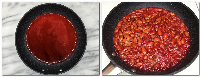 Photo 1: Frying pan with melted sugar and red food coloring Photo 2: Almonds coated with red sugar syrup in a pan