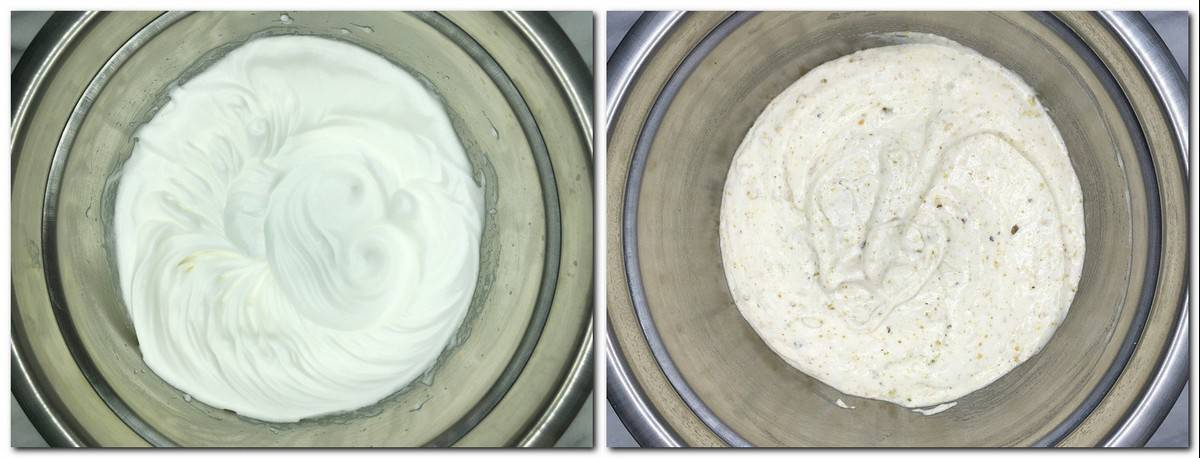 Photo 1: Meringue in a metal bowl Photo 2: Ready dacquoise mixture in a metal bowl