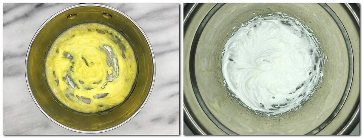 Photo 5: Pastry cream of yellow color in a saucepan Photo 6: Italian meringue in a metal bowl
