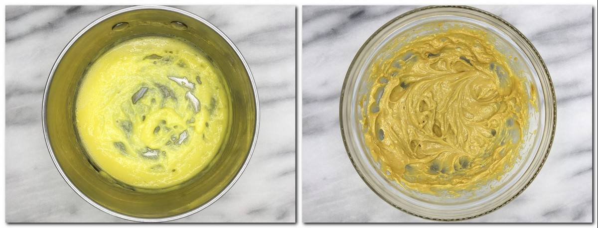 Photo 7: Crème anglaise in a saucepan Photo 8: Greenish pastry cream/pistachio paste mixture in a glass bowl