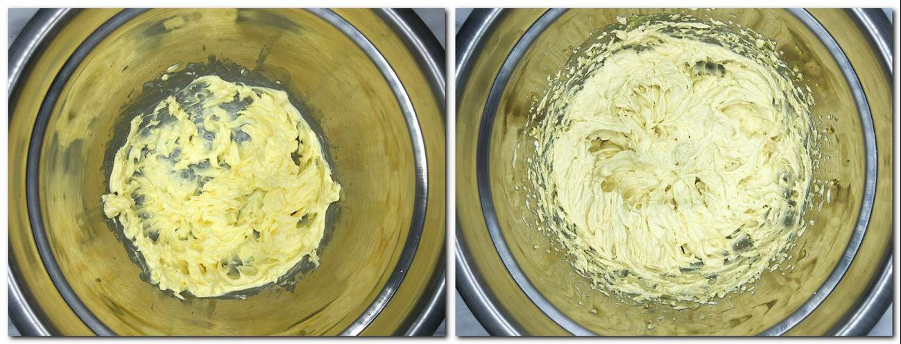 Photo 9: Buttercream in a metal bowl Photo 10: Pistachio mousseline cream in a metal bowl