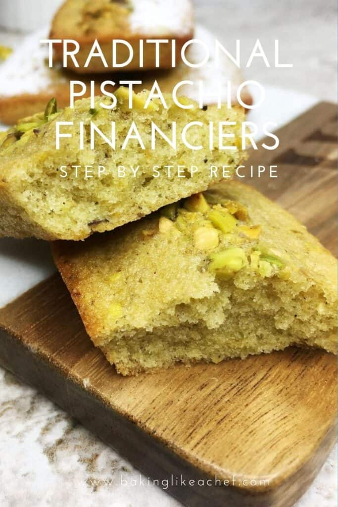 Sliced pistachio financier with three cakes and a cup on background: Pin with text