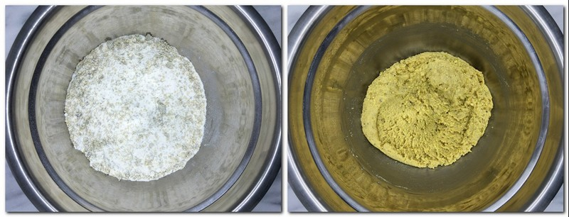 Photo 3: Mixed dry ingredients in a metal bowl Photo 4: Green-colored halfway ready preparation in a bowl