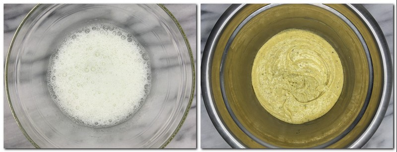 Photo 5: Whisked egg whites in a glass bowl Photo 6: Ready batter in a metal bowl