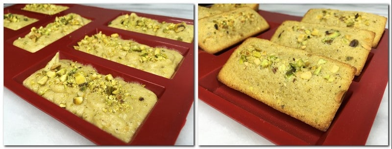 Photo 7: Cake batter  sprinkled with pistachios in a mold Photo 8: Baked financiers in a mold