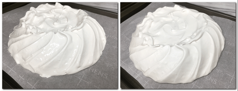 Photo 3: Meringue shaped in a dome Photo 4: Baked meringue shell