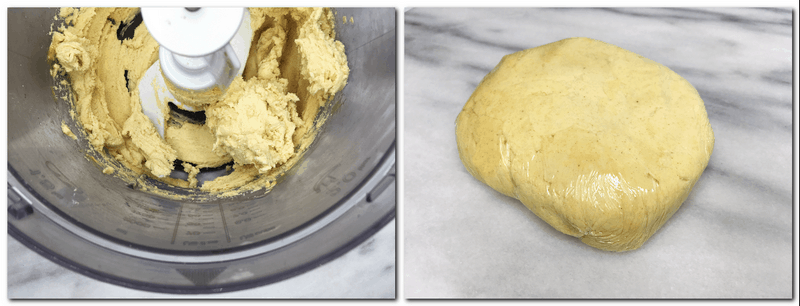 Photo 1: Ready pastry dough in the bowl of a stand mixer Photo 2: Dough wrapped in a plastic film