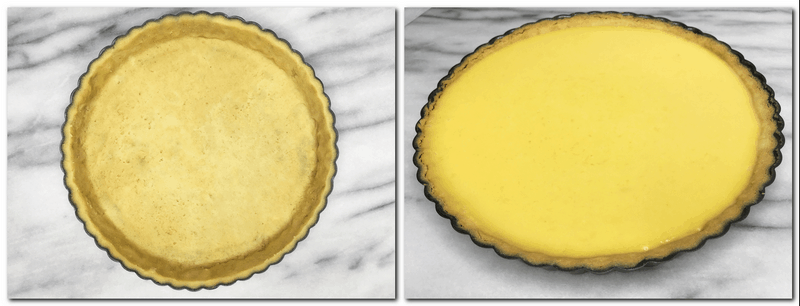 Photo 5: Pie crust in a tart pan Photo 6: Pre-baked pie crust filled with pumpkin filling