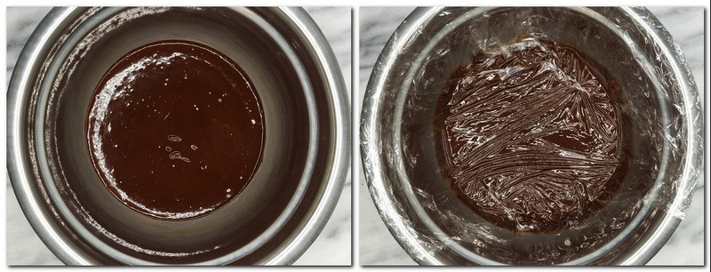 Photo 5: Ready chocolate ganache in a bowl Photo 6: Ganache covered with a plastic film on contact