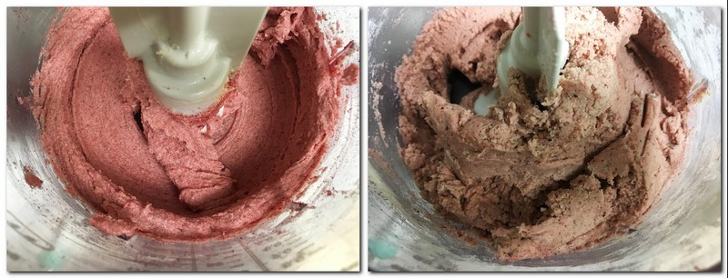 Photo 1: Butter/sugar/berry powder in the bowl of a stand mixer Ready cookie dough in a bowl