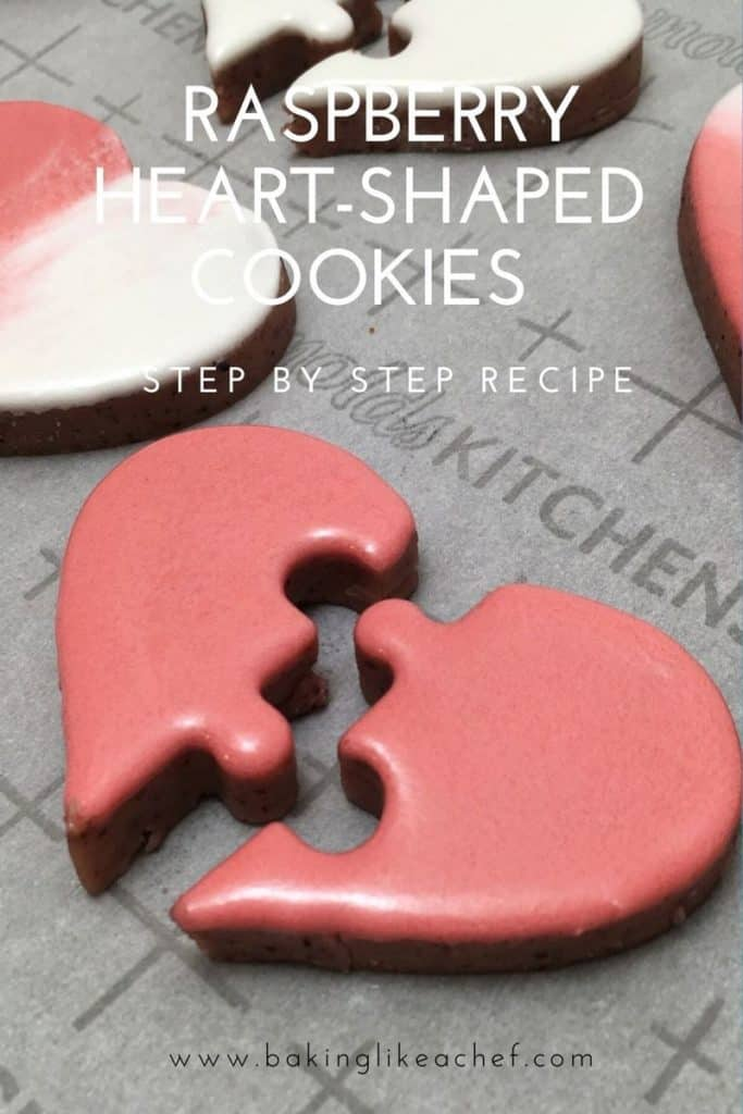 Heart puzzle cookies on the parchment