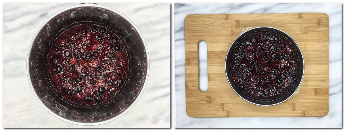 Photo 1: Red fruit confit in a saucepan Photo 2: Confit poured into a steel cutter