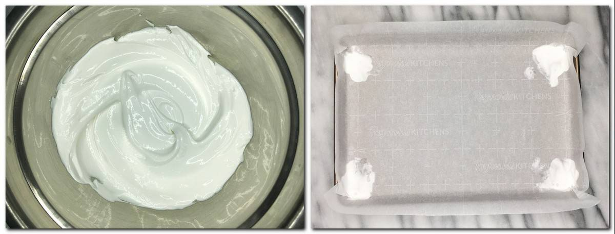 Photo 1: Meringue in a metal bowl Photo 2: Parchment fixed with the meringue into a baking pan