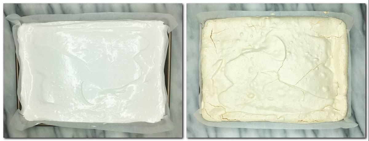 Photo 3: Meringue spread into a baking pan Photo 4: baked meringue in a pan