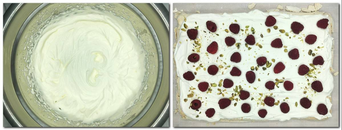 Photo 5: Rosewater whipped cream in a bowl Photo 6: Meringue covered with cream, raspberries and pistachios