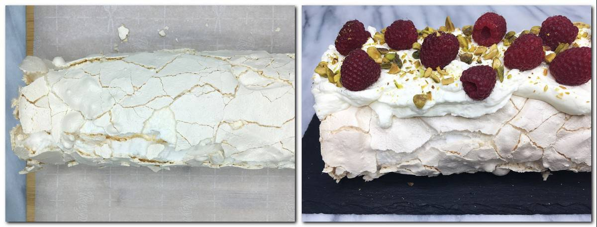 Photo 7: Rolled cake on the parchment paper Photo 8: Meringue roll garnished with raspberries, pistachios and icing sugar on a black board