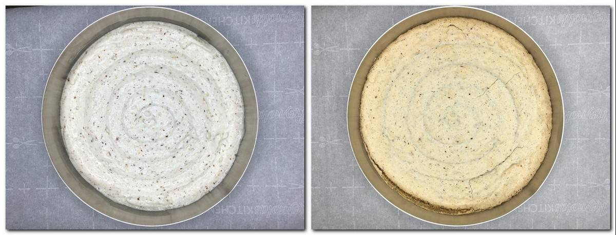 Photo 3: Dacquoise preparation piped as a spiral inside a cake mold Photo 4: Dacquoise baked according to the recipe in the mold