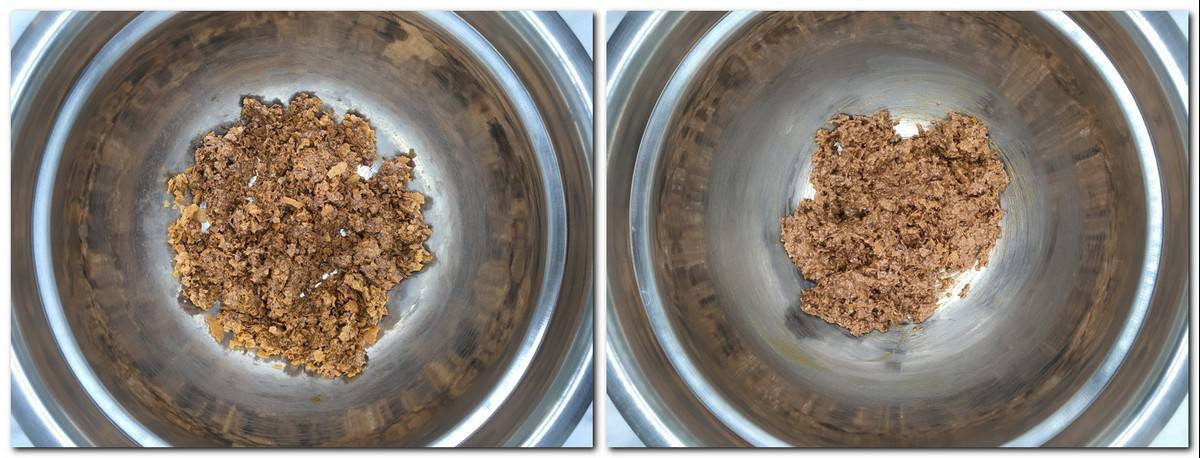 Photo 5: Crunchy mixture in a metal bowl Photo 6: Ready crispy mixture in a bowl