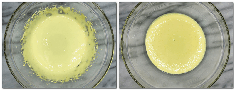 Photo 5: Beaten egg yolks with vanilla extract in a glass bowl Photo 6: Ready egg yolks/sugar mixture in a bowl