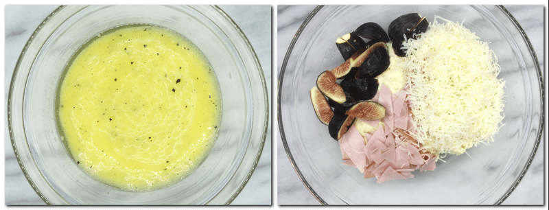 Photo 1: Eggs mixture in a bowl Photo 2: Cheese, ham, and figs over the dough