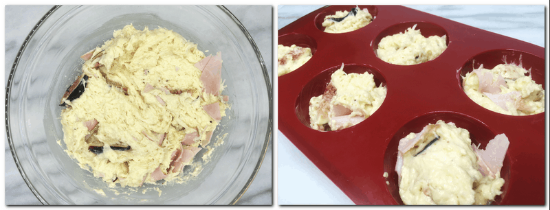Photo 3: Muffin dough in a glass bowl Photo 4: Dough into muffin mold cavities