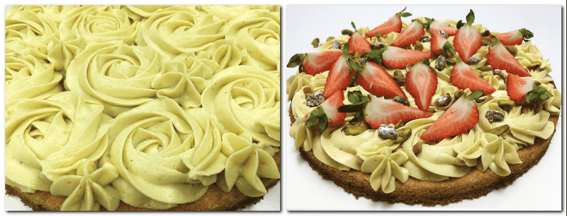 Photo 9: Pipped mousseline cream as roses on the sable Breton crust Photo 10: Tart decorated with the mousseline cream, strawberries, pistachios is on a serving platter