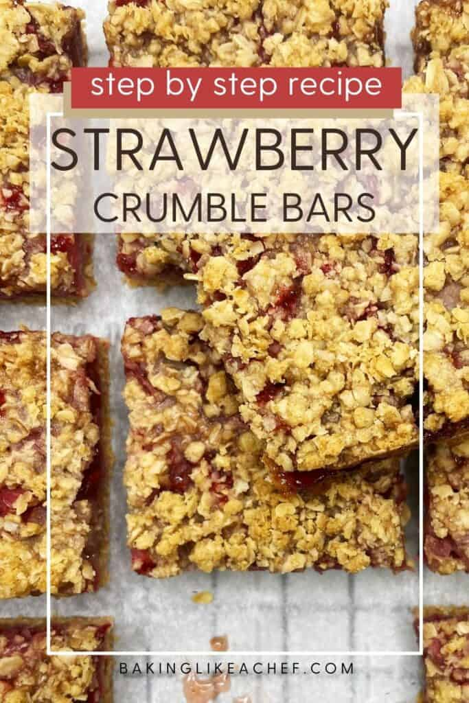 Sliced fresh strawberry crumb bars with a knife on parchment paper: Overhead view; Pin with text