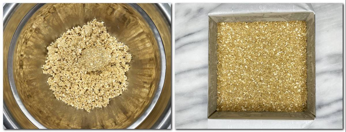 Photo 1: Crumble topping in a bowl Photo 2: Buttery crumb crust in a pan