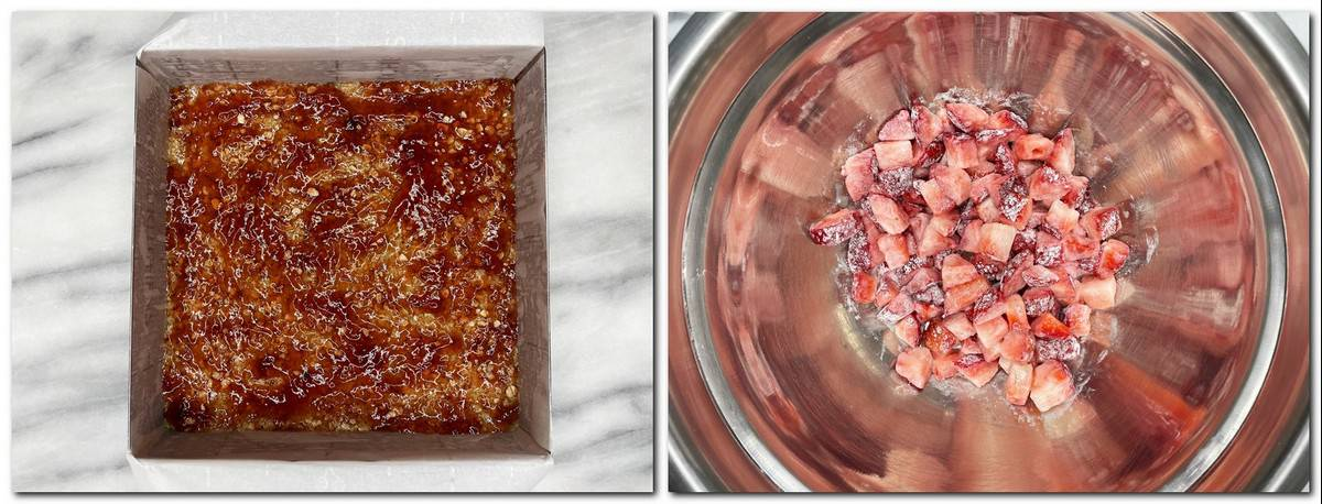 Photo 3: Fruit preserves over the crust Photo 4: Fresh strawberry mixture in a bowl