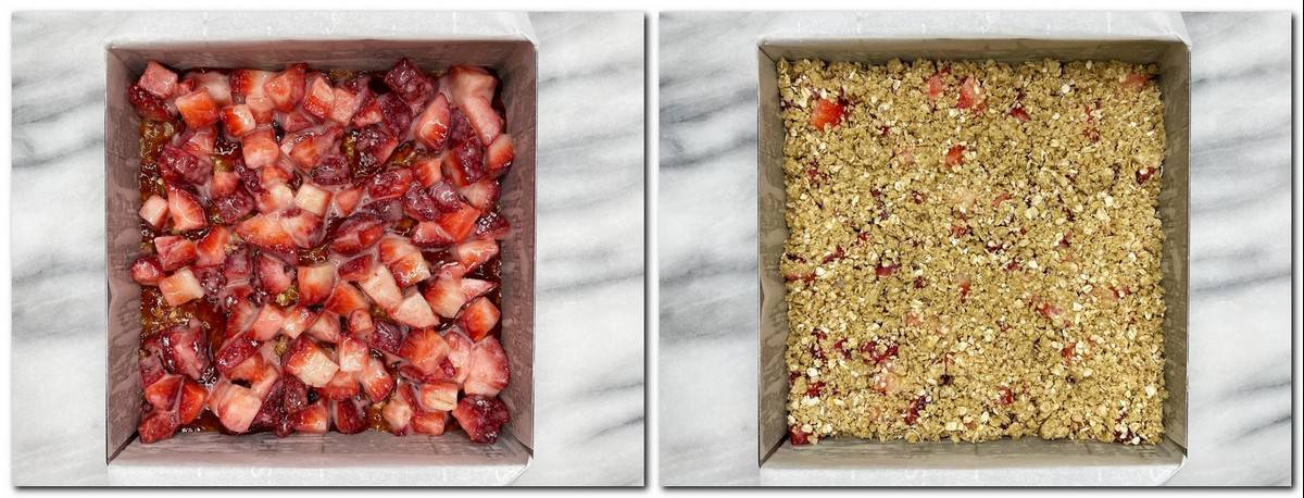 Photo 5: Strawberry filling over the crust Photo 6: Crumb topping on top of strawberries