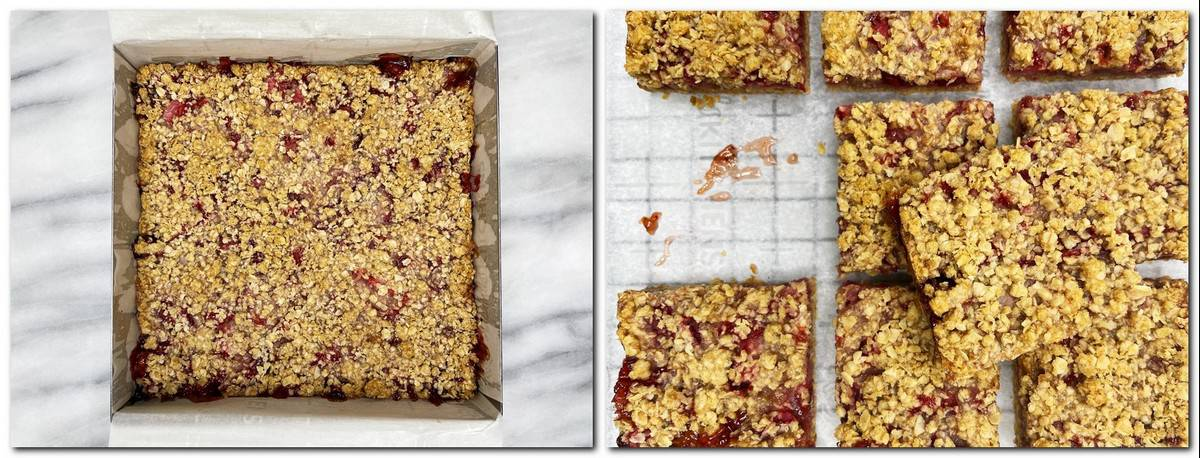 Photo 7: Baked dessert in a mold Photo 8: Sliced bars on parchment paper