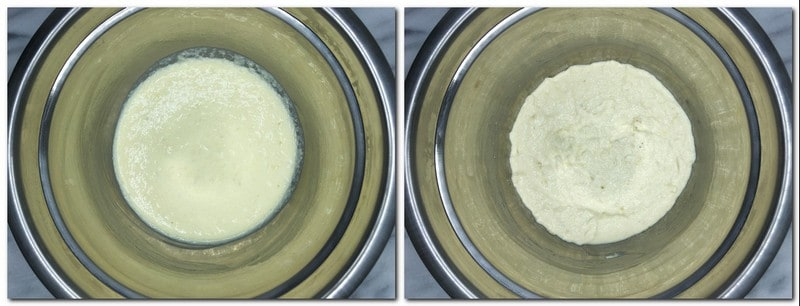 Photo 1: Halfway ready cake batter in a metal bowl Photo 2: Ready cake batter in a bowl