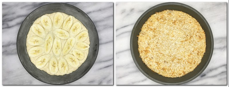 Photo 3: Banana slices on top of the batter in a pan Photo 4: Baked sugar-free banana coconut cake in a pan