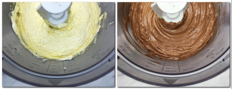 Photo 3: Butter/sugar/eggs mixture on the bowl of a stand mixer Photo 4: Ready dough in the bowl of a stand mixer