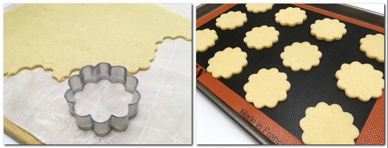 Photo 3: The rolled dough with a cookie cutter on the parchment  Photo 4: Cut pieces on a silicone baking mat